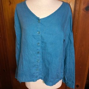 Women flax blue button down linen top size small